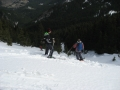 Skiing down the slope, winter Perelik