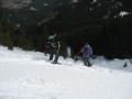 Skiing down the slope, winter Perelik